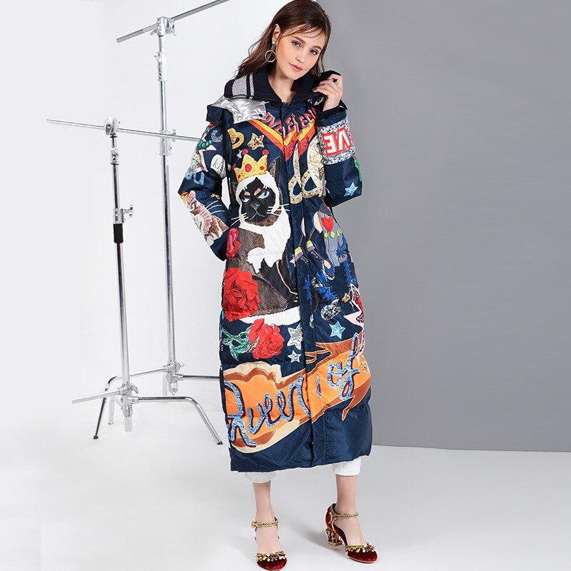 Casaco Veste Le Long Manteau Outwear Bleu Coloré Vers Longue Chaud D'hiver Manteaux Capuche Parkas Femme 2018 À Canard Bas EFRcnRqH7