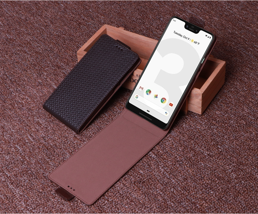 Genuine Leather Flip Up And Down Case Cover For Google Pixel 3 3 XL 6.3 Mobile Phone Stand Case Leather Coverr