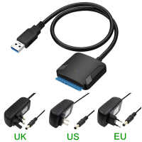 USB3.0 Adapter Cable Converter 22 pin USB 3.0 to SATA Cable with EU US UK adapter For 2.5 inch 3.5 inch HDD SSD Hard Disk