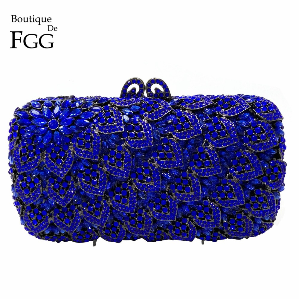 Royal Blue Crystal Diamond Women Evening Clutch Bag Bridal Wedding Cocktail Metal Handbags Purses Ladies Clutches Shoulder Bags golden crystal diamond rabbit women evening clutch bags bridal wedding dress handbags shoulder purses hard case metal clutches