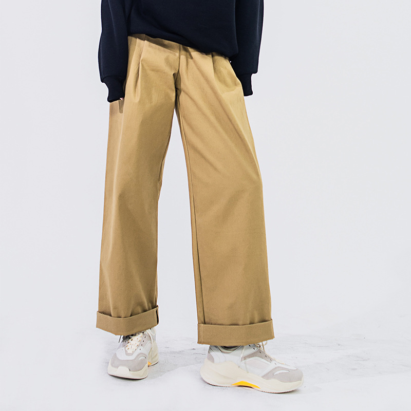 Women's Trousers 2019 Spring High Waist Casual Pure Color Workers Wide-legged Trousers Women Full Length Women Pants