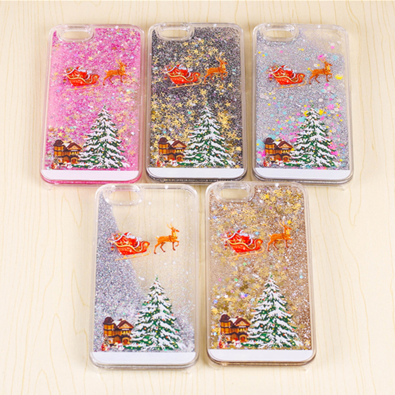 lack new christmas gift phone cases for iphone 6 6s plus lovely santa claus tree snowman glitter star liquid clear cover in half wrapped case from