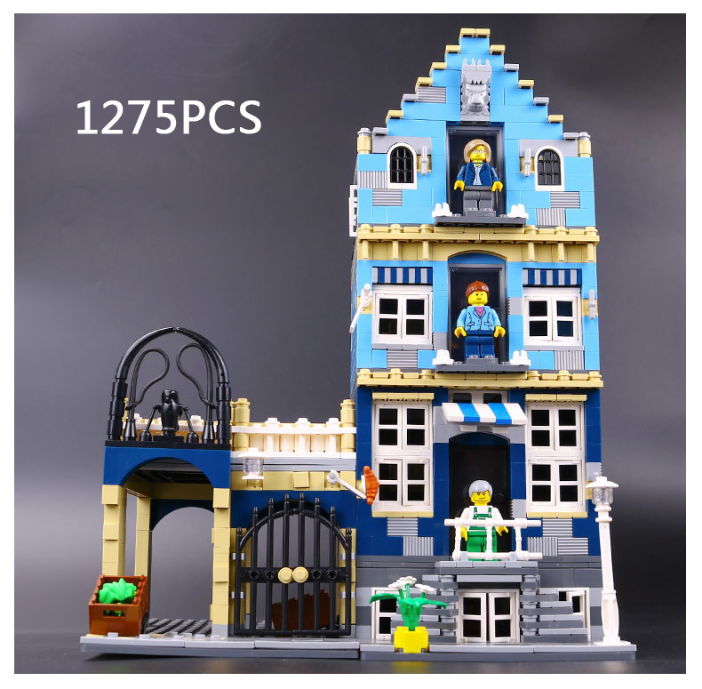 1275pcs Classic creator factory street view European Market building block Standard brick size compatible 10190 city toys loz street view architecture building brick 303pcs