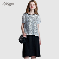 2017 Summer New Loose Thin Temperament Hollow Lace Dress Long Section Short Sleeve A Line L6619