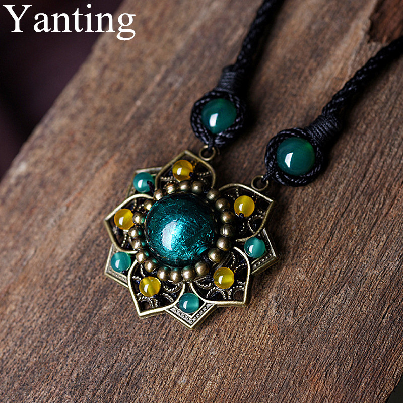 Yanting Vintage Choker Necklace For Women Ethnic Glass Glazed Green Stone Copper Alloy Flower Pendant Necklace Gift 041