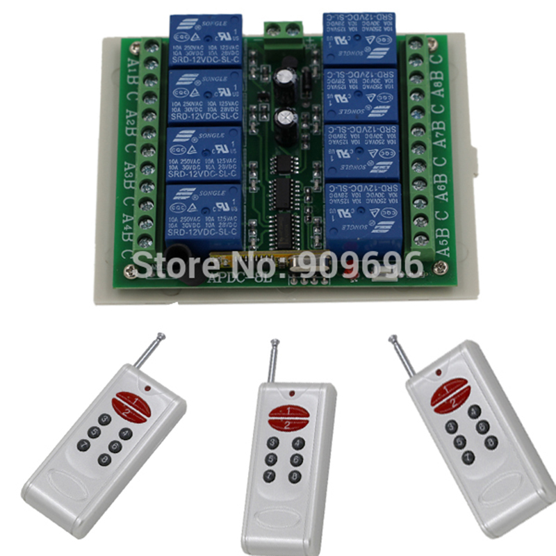 DC12V remote control switch,RF control Toggle,Latch,8CH receiver transmitter Kits Free shipping dc24v 8ch rf wireless remote control switch 8 receiver