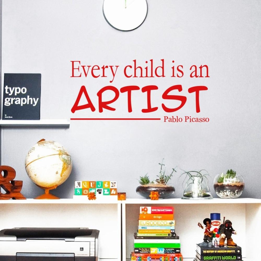 Us 1 75 12 Di Sconto Ogni Bambino è Un Artista Pablo Picasso Vinile Citazioni Wall Stickers Decalcomanie Di Arte Per La Camera Dei Bambini Decor In