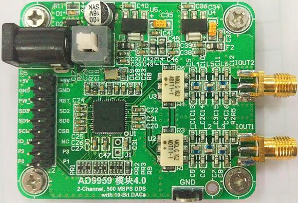 AD9959 module high speed DDS 200M signal generates RF transformer output.AD9959 module high speed DDS 200M signal generates RF transformer output.