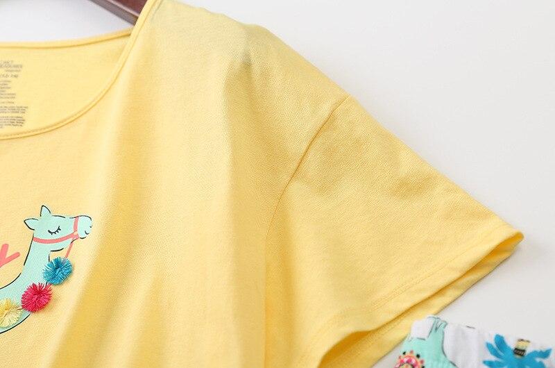 Image 5 - New 2019 Summer Women Pajamas Cotton Cute Print Alpaca Pajama Set Top + Capris Elastic Waist Plus Size 3XL Lounge pijamas S92902-in Pajama Sets from Underwear & Sleepwears