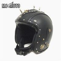 Punk Leather Harley Helmets 3 4 Motorcycle Motocross Chopper Bike Helmet High Quality Open Face Vintage