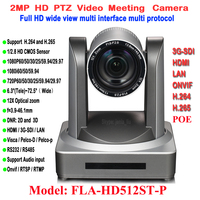 H.265 2MP 1080P 60Fps Professional Video Camera IP POE PTZ 12x Auto Zoom Teleconferencing with Simultaneous HDMI 3G SDI Ports