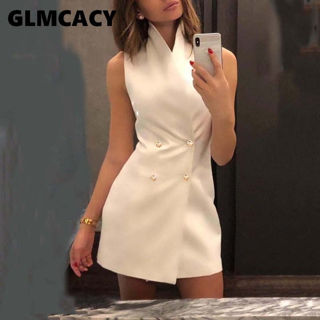 Women Double Breasted Mini Blazer Dress Office Lady Sheath Sleeveless Button Design Above Knee Mini Turn-down Collar Dress