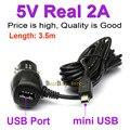 Mini USB Cargador de Coche para la Cámara de DVR/GPS Con Puerto USB 5 V 2A Real ajuste DC 12 V 24 V Del Coche, Longitud del cable 3.5 M (11.48ft)