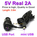 Mini USB Carregador de Carro para DVR Camera/GPS Com Porta USB 5 V 2A Real fit DC 12 V 24 V Do Carro, Comprimento Do cabo 3.5 M (11.48ft)