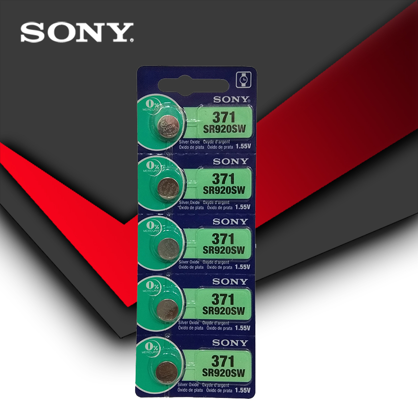 5pc Sony 100% Original <font><b>371</b></font> SR920SW 920 1.55V Watch <font><b>Battery</b></font> SR920SW <font><b>371</b></font> Button Coin Cell MADE IN JAPAN image