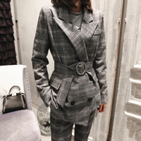 Fashion Classic Plaid Suit Women S Office Clothing Sets Blazer Jacket Pants Outfit 2018 Spring Clothes