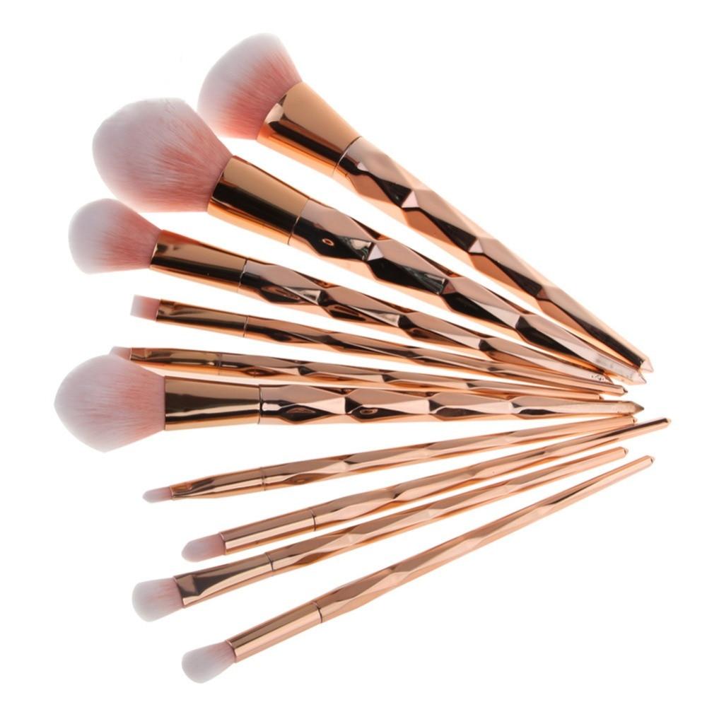цена на 10PCS Rose Gold Make Up Brush Set High Quality Foundation Blusher Powder Brush Tools Flat Eyeliner Eyebrow Makeup Brush #228435