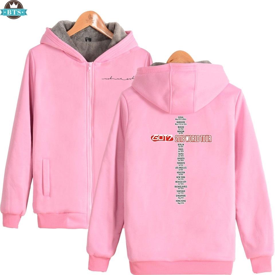 2018 white Got7 Magliette pink Popolare Camicette navy gray Casual  Cappuccio Stampa Inverno Felpa Addensare Con Felpe Di Rits Modo Hip Idolo E  Hop ... 3a87e2bad060