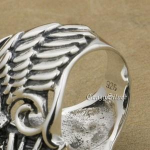 Image 3 - 925 Sterling Silver Devil Wing Skull CZ Eyes Mens Biker Rocker Punk Ring 9MX13 US Size 7~13