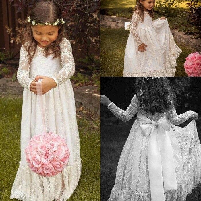 Кружевное белое платье с длинными рукавами и цветочным рисунком для девочек; платье с бантом и трапециевидной линией; платье в пол для торжественных случаев; платье для первого причастия; День рождения