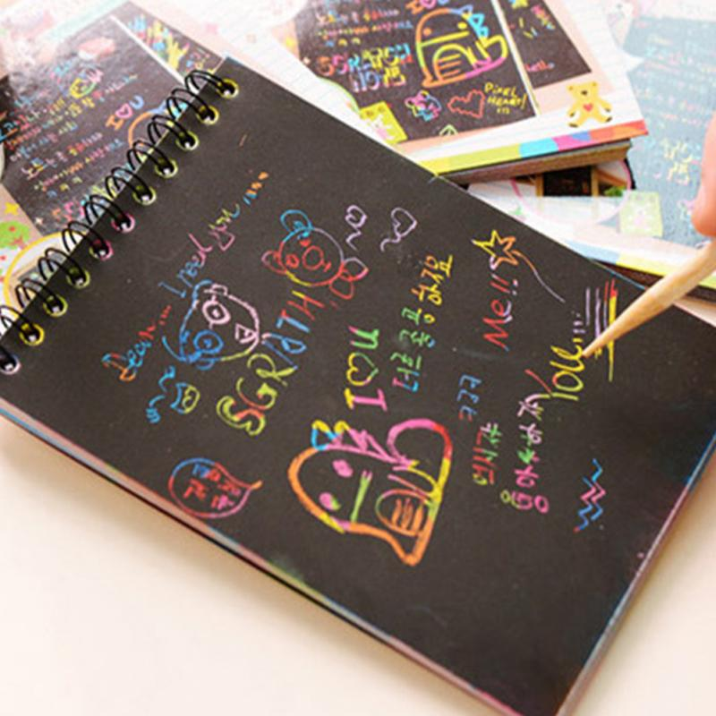 все цены на Happyxuan 10*14cm Large Magic Color Rainbow Scratch Paper Note book Black DIY Drawing Toys Scraping Painting Kid Doodle