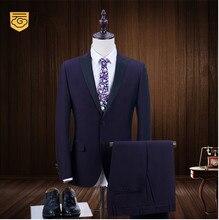 2017 Brand Fashion Deep Purple Men's Suits Wedding Prom Tuxedo Slim Fit Blazers Jacket Pants Suit 2 Piece Male Tuxedos