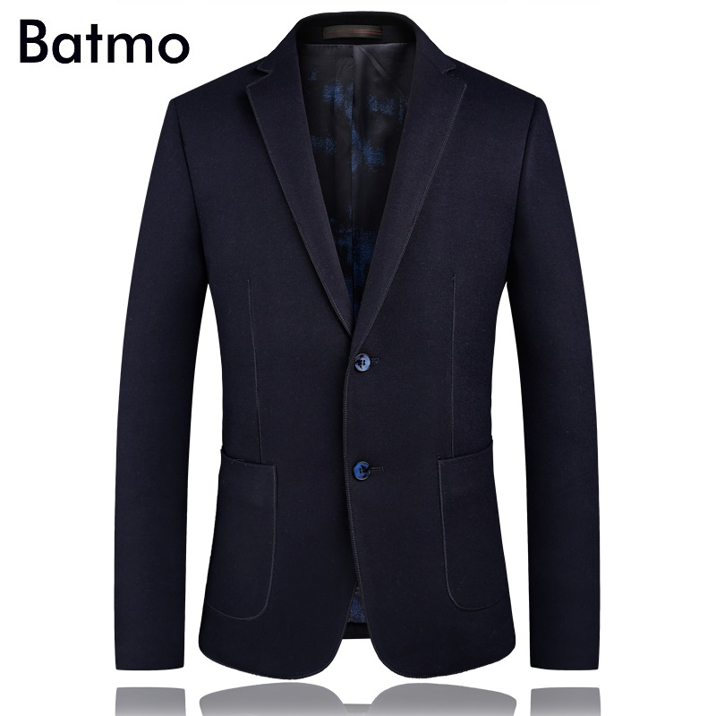 Batmo 2018 new arrival spring high quality wool casual suits men,casual men's blazer ,plus size M 4XL 1751
