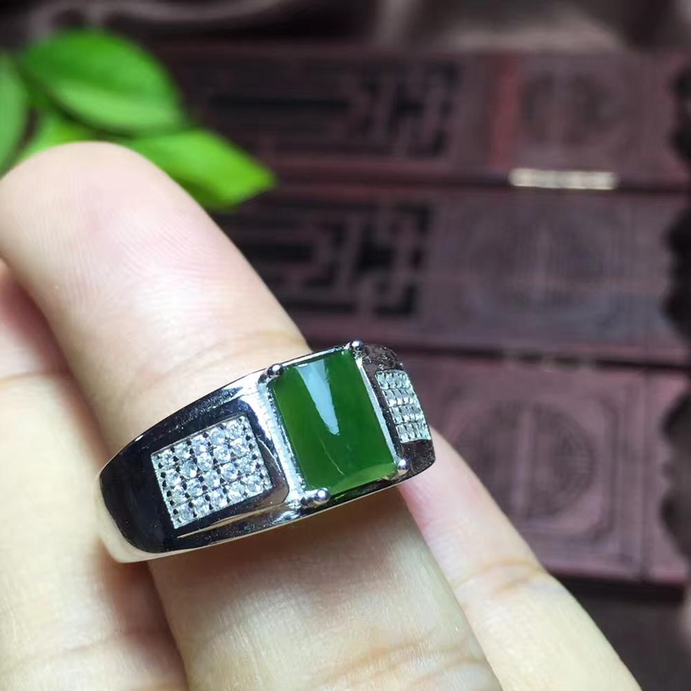 spinach green jade  ring for menspinach green jade  ring for men