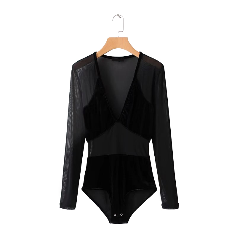 Splice velour bodysuit sexy deep v neck mesh women bodysuit Spring black streetwear jumpsuit romper 2018 New