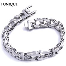 FUNIQUE Bracelet 316L Stainless Steel Gothic Punk Men Polished Printed Bangle Bracelet Antique Silver Men Bracelet Dropshipping