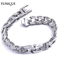 FUNIQUE Brand Bracelet 316L Stainless Steel Gothic Punk Men Polished Printed Bangle Bracelet Antique Silver Men Bracelet 22cm