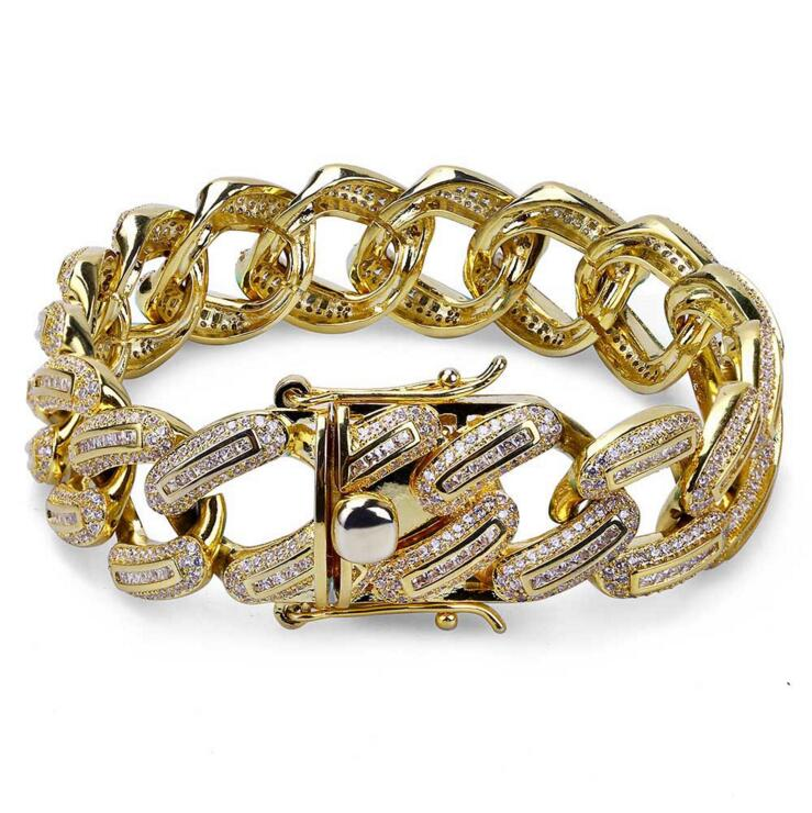 CZ iced out bling bracelet Miami cuban link chain luxury gold silver color Full CZ paved 2018 Cool hip hop cz chain cz h37s