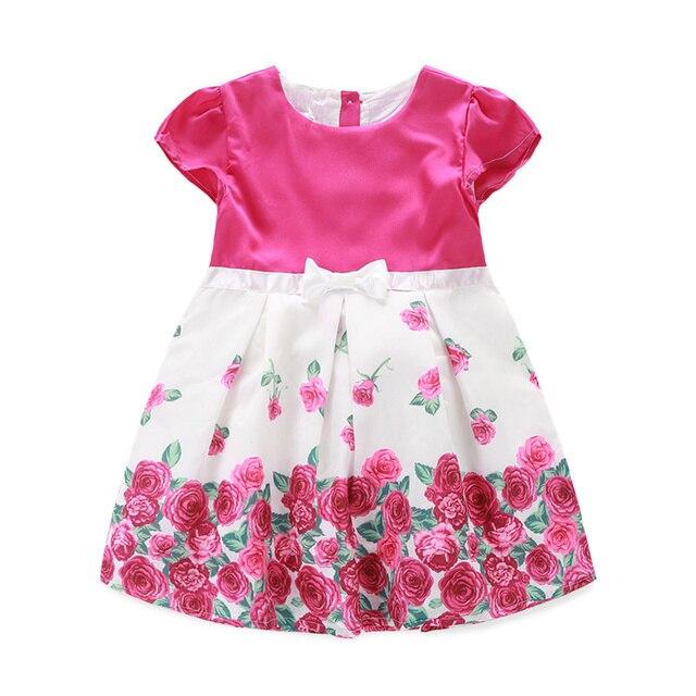 67be7fc38ada Cute Girls Dress Rose Flower Bowknot Kids Drees Summer Baby Girl Clothing Princess  Dress 2-7Y