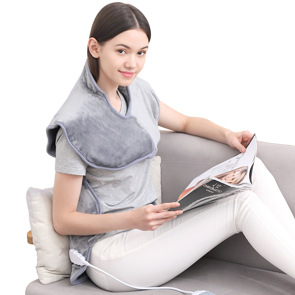 Electric Shawl Far infrared Heating Neck/Shoulder /Back Therapy Flannel Heating Pad Circulation