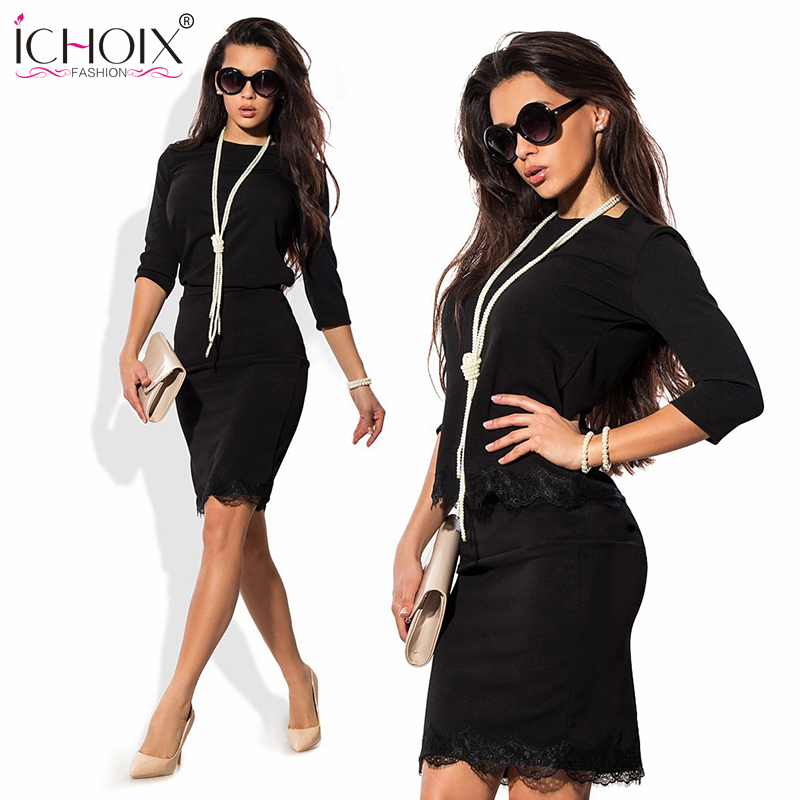 New  2019 Fashion Dress Women's Three Quarter Two Pieces Set Plus Size Lace Patchwork Tops and Skirt Party Women Sets Work Wear