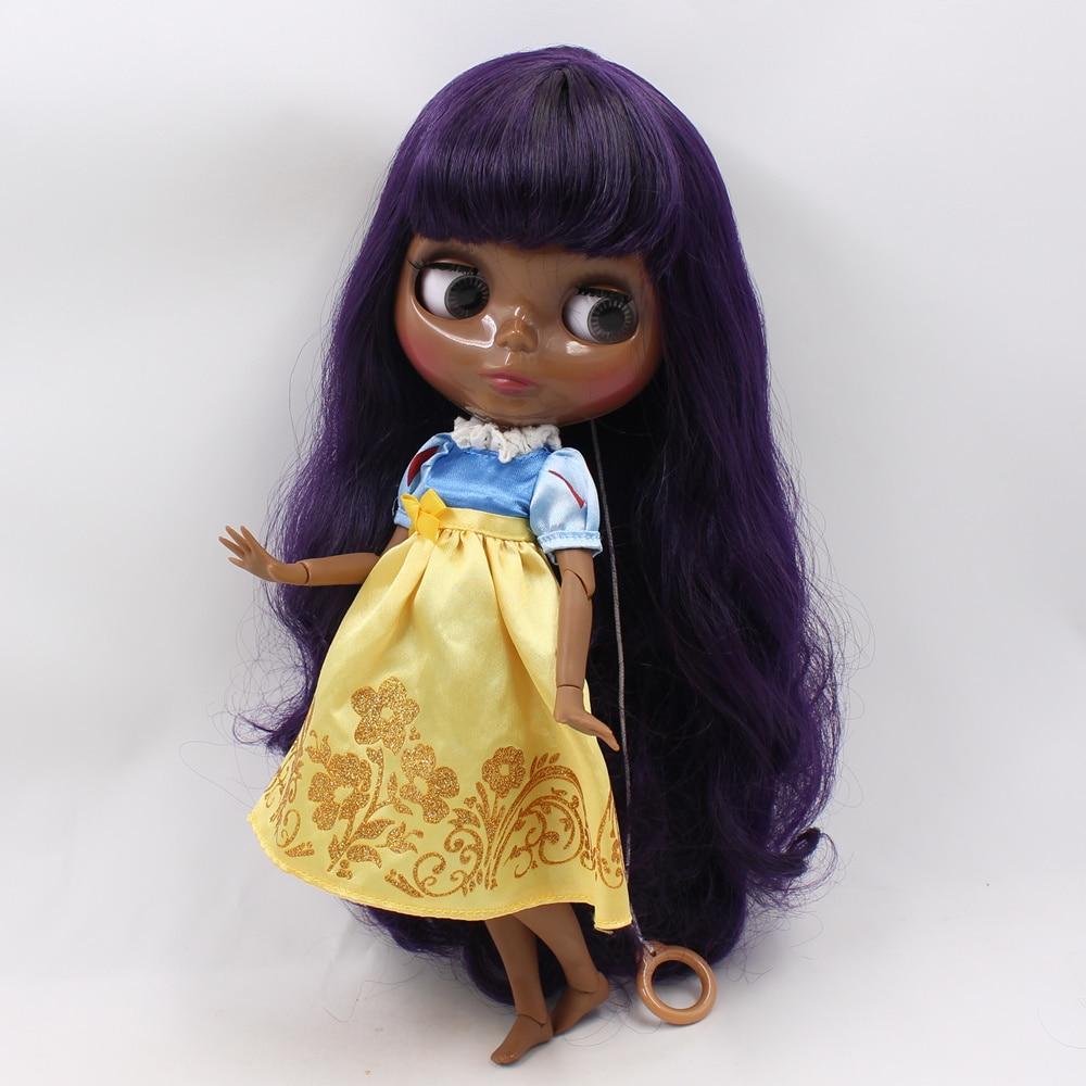 Super noir Blyth poupée nue joint corps ton violet profond cheveux bouclés avec frange maquillage à réaliser soi-même mode poupée jouets pour les filles