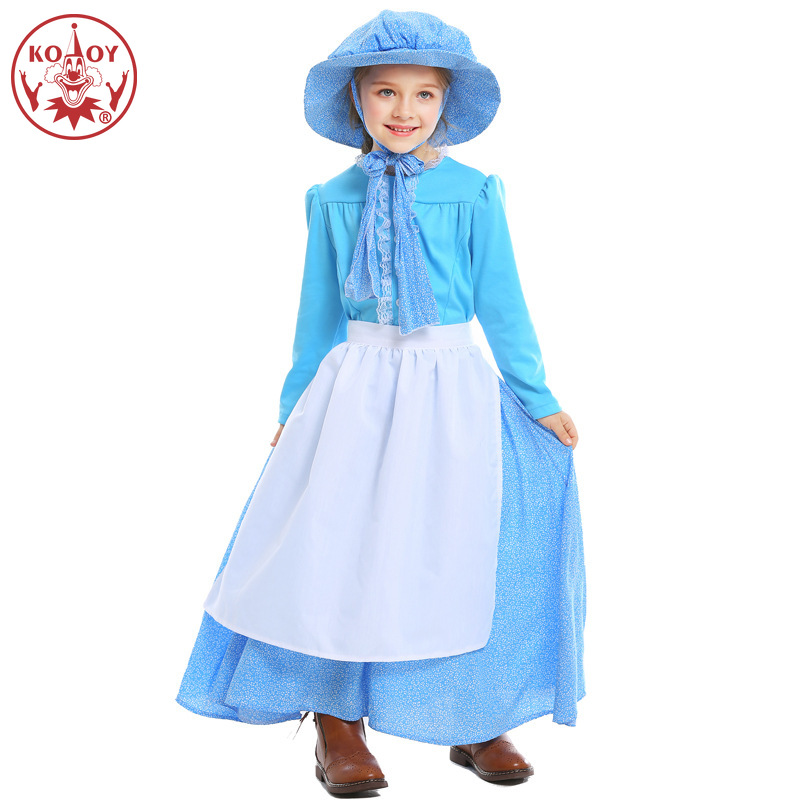 Girls Blue Pioneer Costumes Kids Children Halloween Young Women Cosplay Carnival Purim Party Fancy Dress With Hat