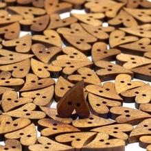 100 шт 20 мм коричневые деревянные пуговицы в форме сердца для шитья скрапбукинга