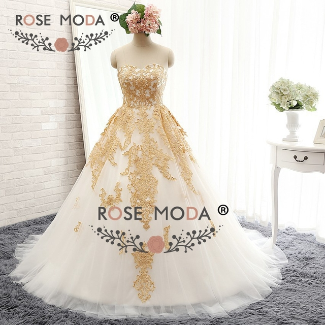 Rose Moda Schatz Elfenbein und Gold Spitze Appliqued Hochzeitskleid ...