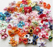 20/50/100pcs /set Dog hair flower pet dog bows accessories lastice bands attached decoration
