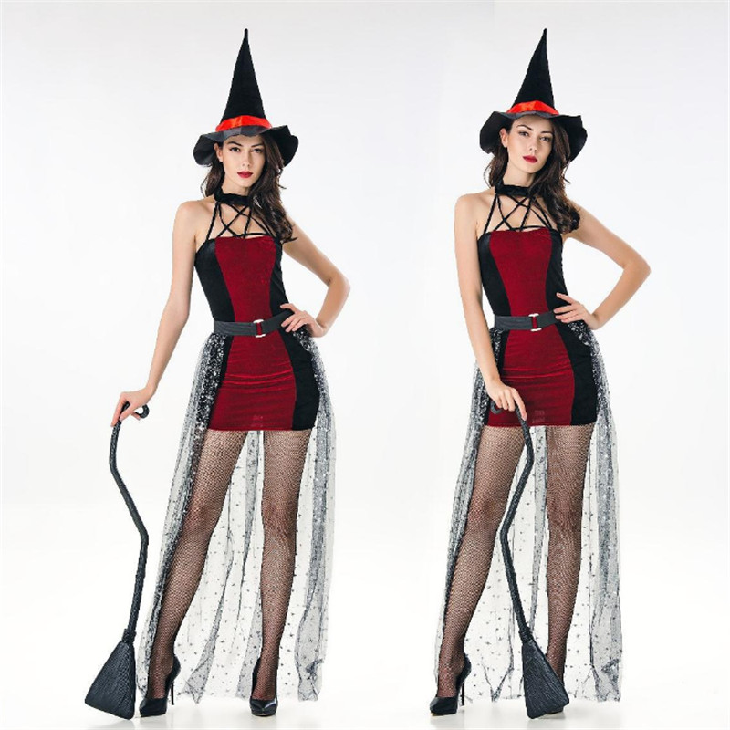 high quality Sexy red Witch Costumes Halloween for Women 2018 new Adult Witch Cosplay dress Masquerade Party Women's clothing