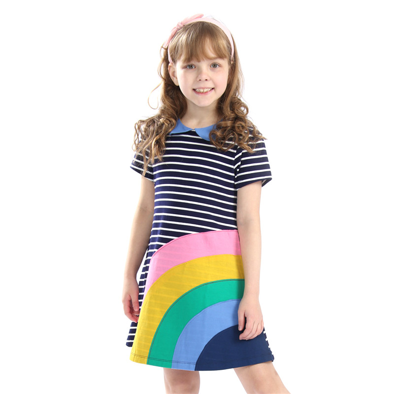 3-12T new designed striped summer dresses baby girls cute cartoon princess dress with applique a rainbow top quality clothing