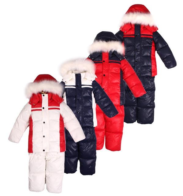 Внешняя торговля мальчиков и девочек толстый бархат воротник пальто вниз устанавливает мягкий одежда зимняя верхняя одежда детей вниз лыжные костюмы