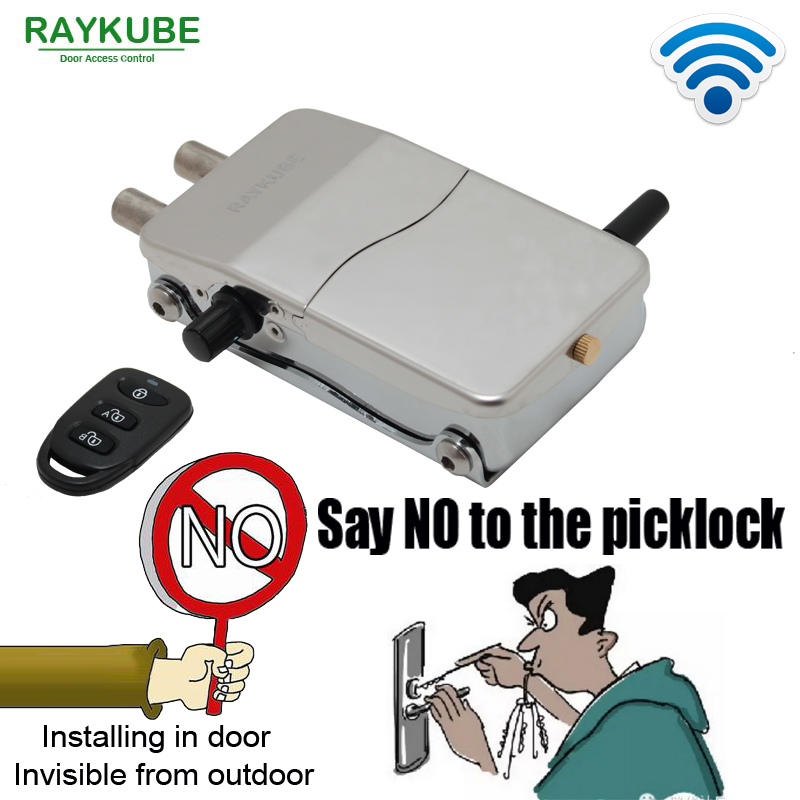 RAYKUBE Wireless Intelligent Remote Control Lock Anti-theft Lock For Invisible Lock Electric Door Lock Smart Warded Lock R-W39 remote control electronic door lock set automatically intellisense household warded lock with 4 remotes