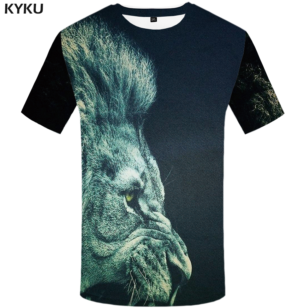 Humorous Kyku Lion Shirt Animal T Shirt Men 2018 3d Print T-shirt Clothes Mens Tee Shirts Funny T Shirts 2018 Summer Clothing New