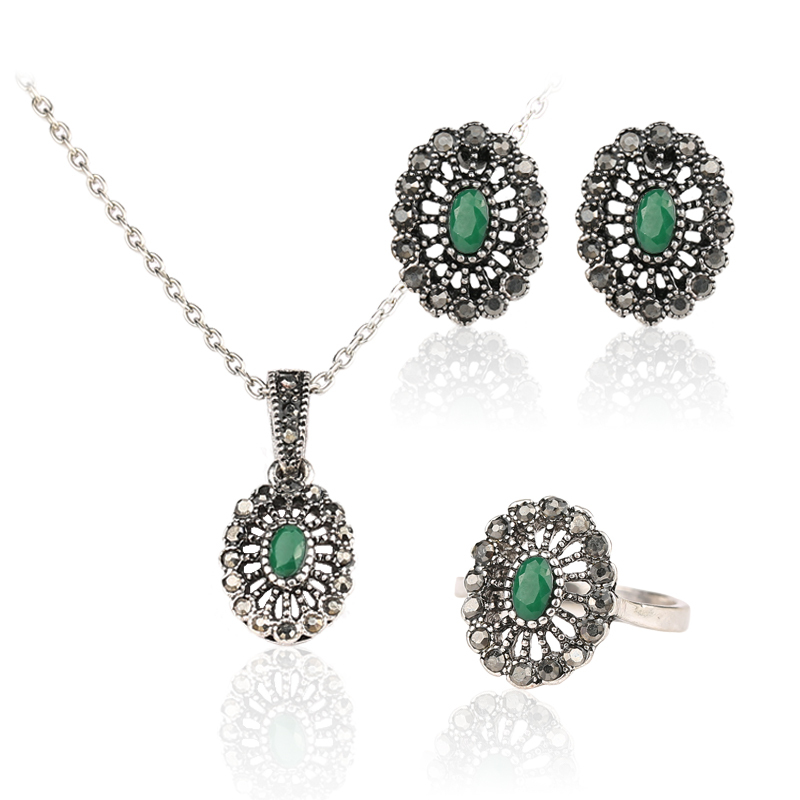 3 PCS Turkey Jewelry Sets 2015 Fashion Vintage Tibet Silver Alloy Oval Necklace And Earrings For Women a suit of vintage rhinestone leaf necklace and earrings for women page 3