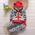 Winter Infant Mouth Monkey Warm Cotton Clothing Set Baby Girl Boy Sheep Velvet Thicken Hoodies Jacket Pants 2pcs Kids Sport Sui