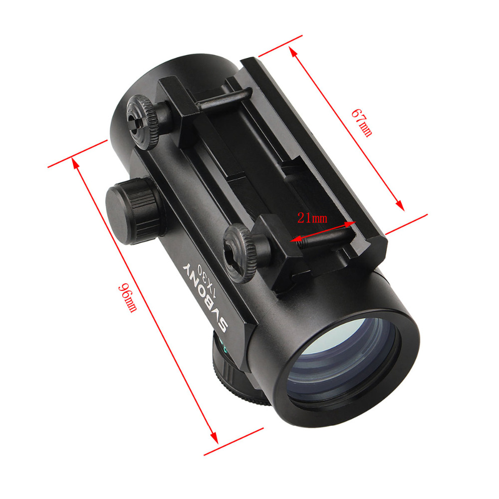 Image 4 - Svbony 1x30mm Sight Tactical Red Green Dot Riflescope Five Brightness Setting Reflex Sight Scope w/ 20mm Rail Mount F9148A-in Riflescopes from Sports & Entertainment
