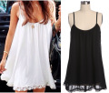 2016 New Arrival Women Sexy Cute Summer Dress White Black Spaghetti Strap Hollow Out Loose Lace Sleeveless Dresses