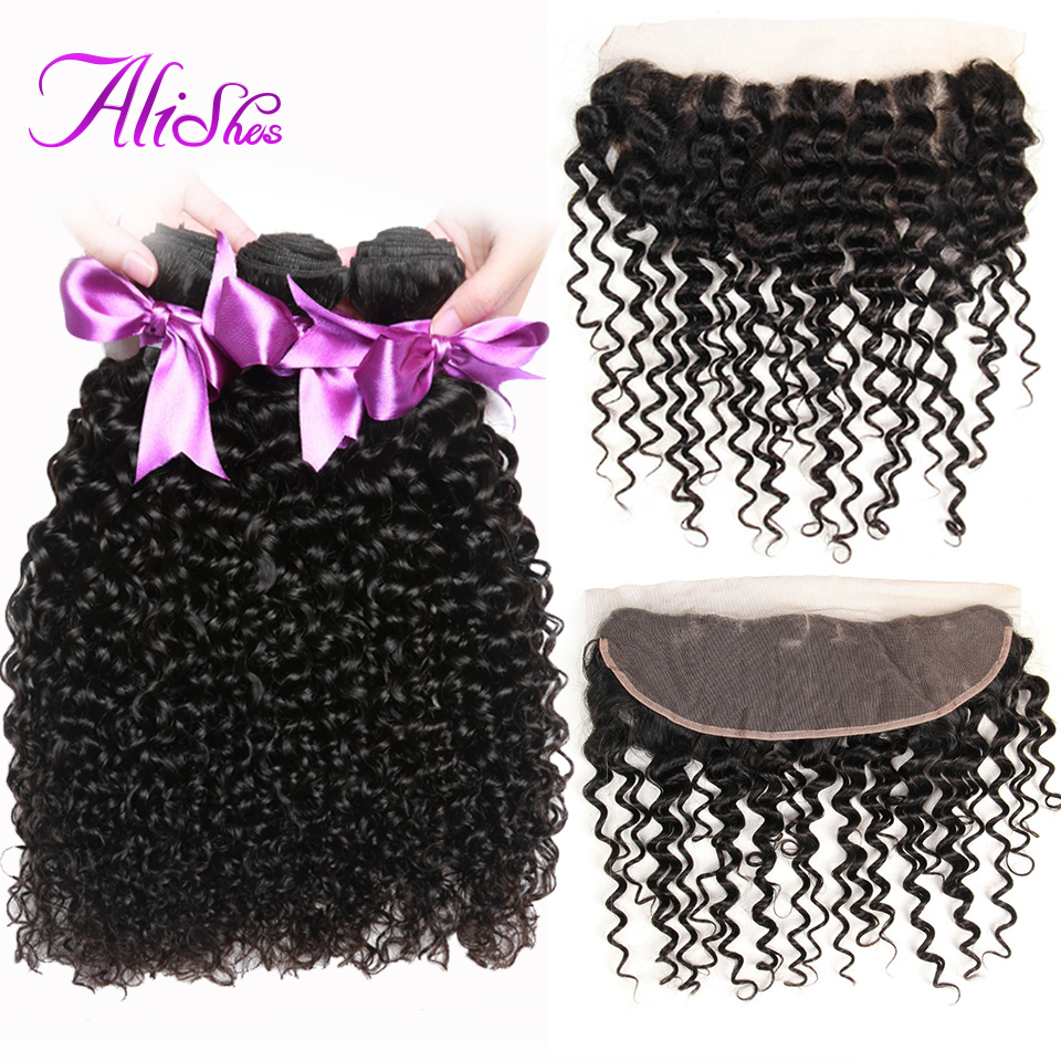 Alishes Malaysian Curly Hair 3 Bundles With Lace Frontal Closure Ear To Ear Free Part Lace